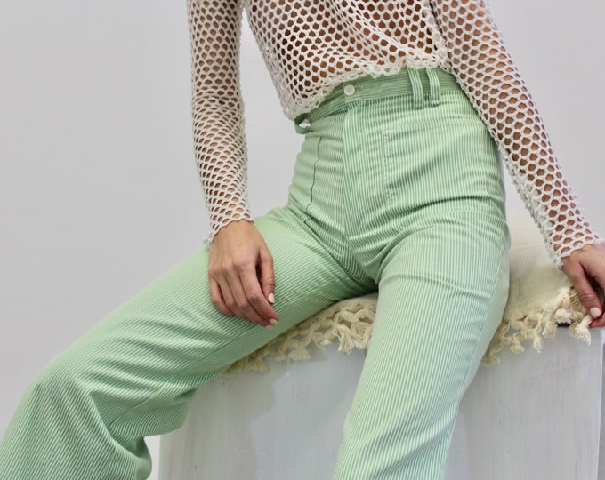 70s High waisted Pin striped Green White Flare Bell Bottoms