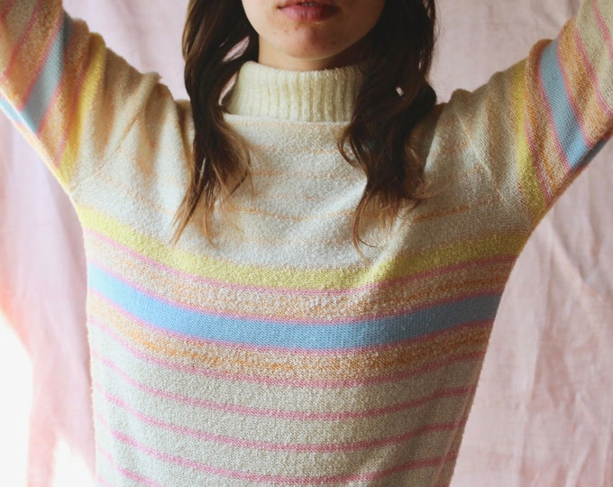 90s striped pastel turtleneck long sleeve cozy sweater