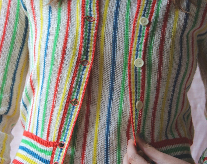 60s 70s Rainbow Long sleeve sweater cardigan striped two piece tank set