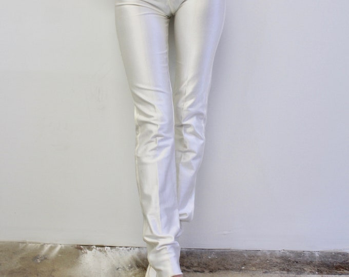80s High Rise White Stretch Nylon spandex Original Disco Pant, small, Great condition, American Apparel pants, authentic vintage 80s rave