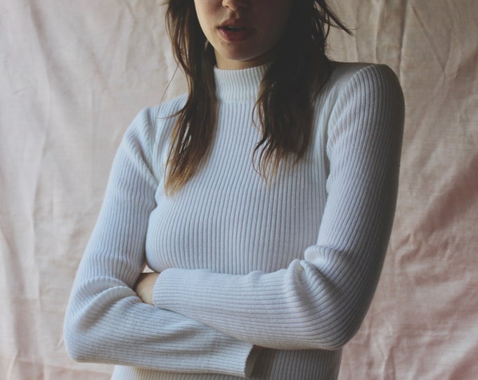 70s White Ribbed half Turtleneck Long Sleeve Sweater top
