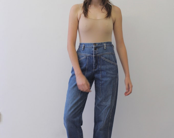 80s 90s COOL Vintage woman's pleated denim pocket high waisted  ankle trousers Loose grunge norm core  boyfriend mom jeans