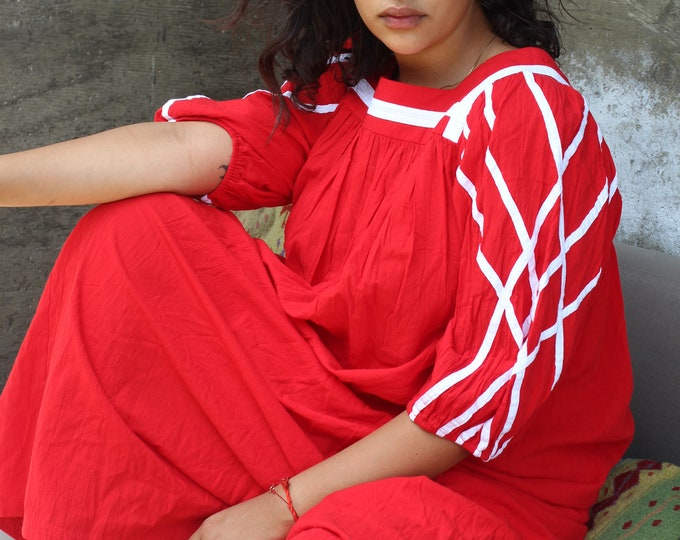 Red 70s Maxi dress, beach cover up, OS