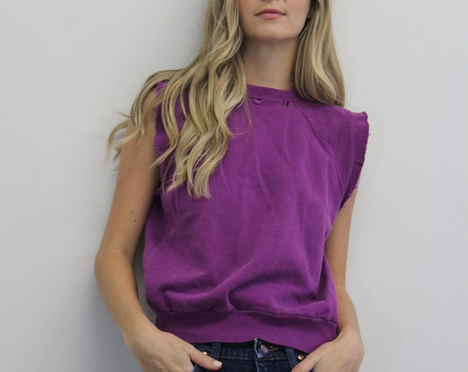 80s Purple cut off Pull over ripped Vintage Crew neck Woman's Top