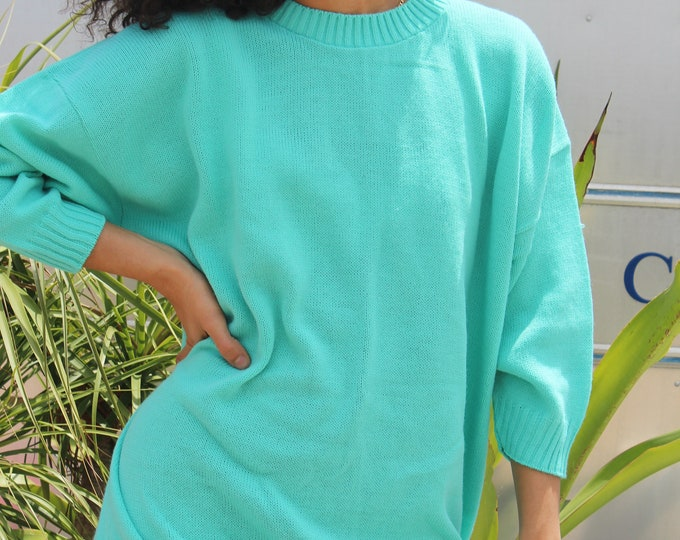 Crystal blue basic Sweater dress, dead stock, Small