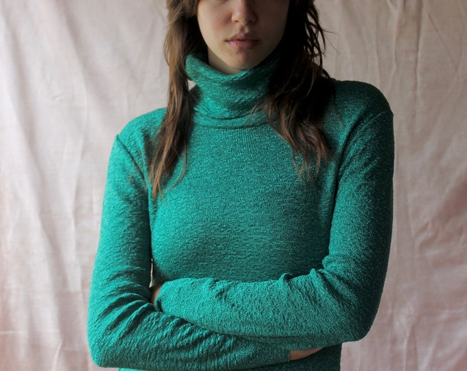 70s Teal Mock Neck Long sleeve turtleneck sweater, Small medium