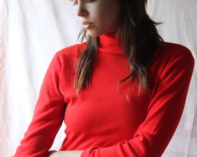 70s Red turtleneck normcore knit mock neck Long sleeve