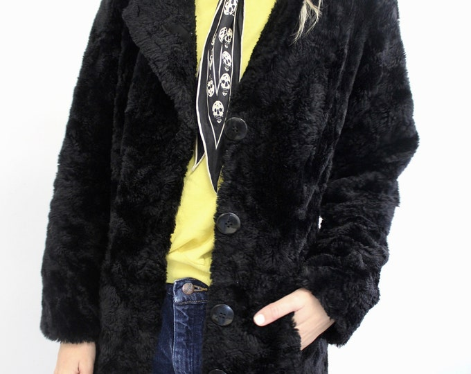 70s Style 90s Black Faux Fur Button up Jacket Vintage Woman's Rocker coat Small