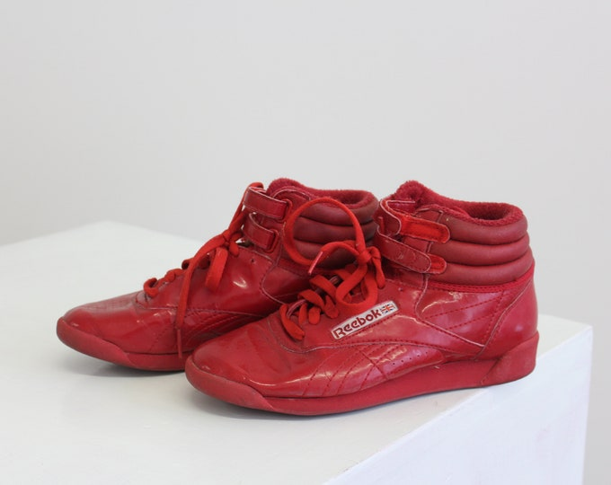 Reebok Red Leather Hi Top Original Lace Up Vintage Woman's Sneakers Size 6 1980s 90s Vintage basketball shoe