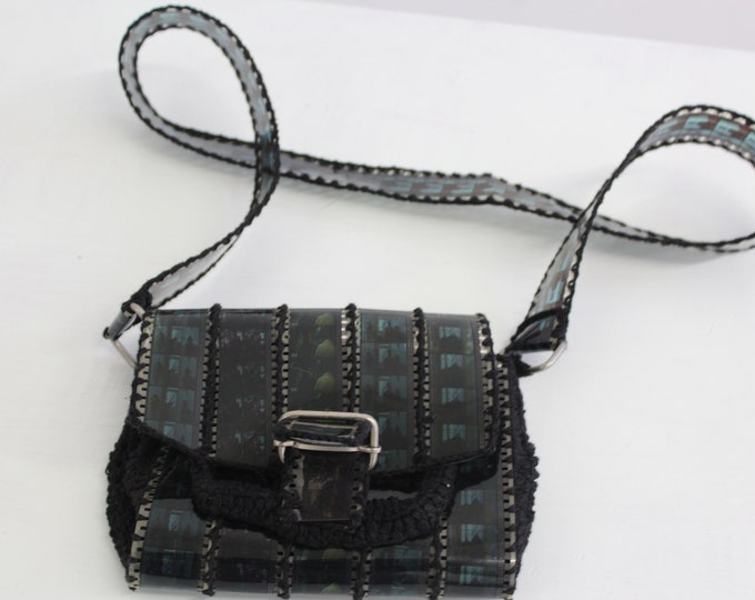 70s Expose film Vintage Transparent Woven Crossbodyhandmade purse small Woman's buckle bag COOL Woven film sheet shoulder bag