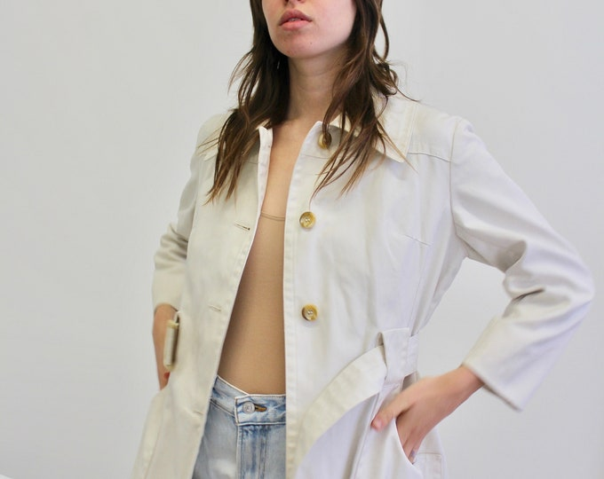 90s 0ff white womans Vintage 90s Trench coat overcoat Vintage jacket 90s classic business suit jacket Tortoise shell buckle Belt coat small