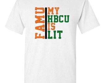 51650826a Men's HBCU is Lit Rattler Florida A&M University Rattlers White Green and Orange  FAMU Tshirt 1887 Gift for him Melanin King Rattler Pride