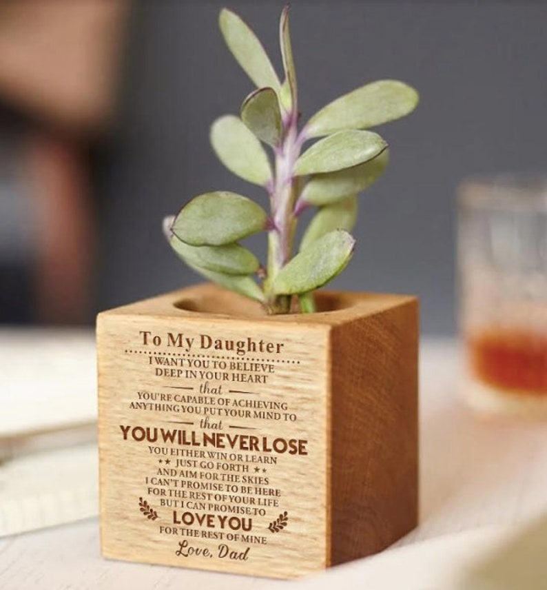 To Daughter From Dad Micro Plants Pot With Love Message From Father Home Decor Mini Pots For Birthday Graduation Anniversary Wedding Gift