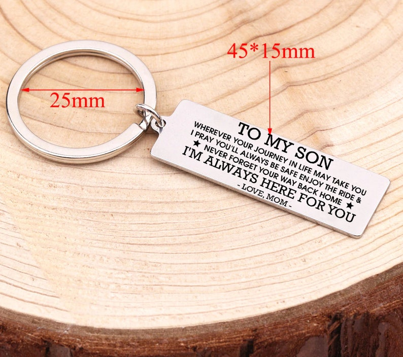 Personalized Your Son Name Love Message From Mom Engraved Son Keychain For Birthday Xmas Graduation Christmas Keyring Mom Son Keyring Gift