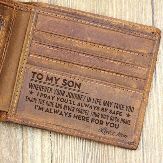 Laser Engraved Wallet Personalised Anniversary Graduation Birthday Gift mens