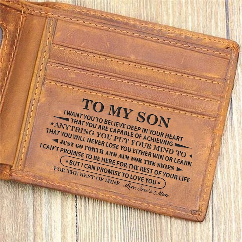 Mom & Dad To My Son Wallet Gift I Want You To Believe Leather image 0