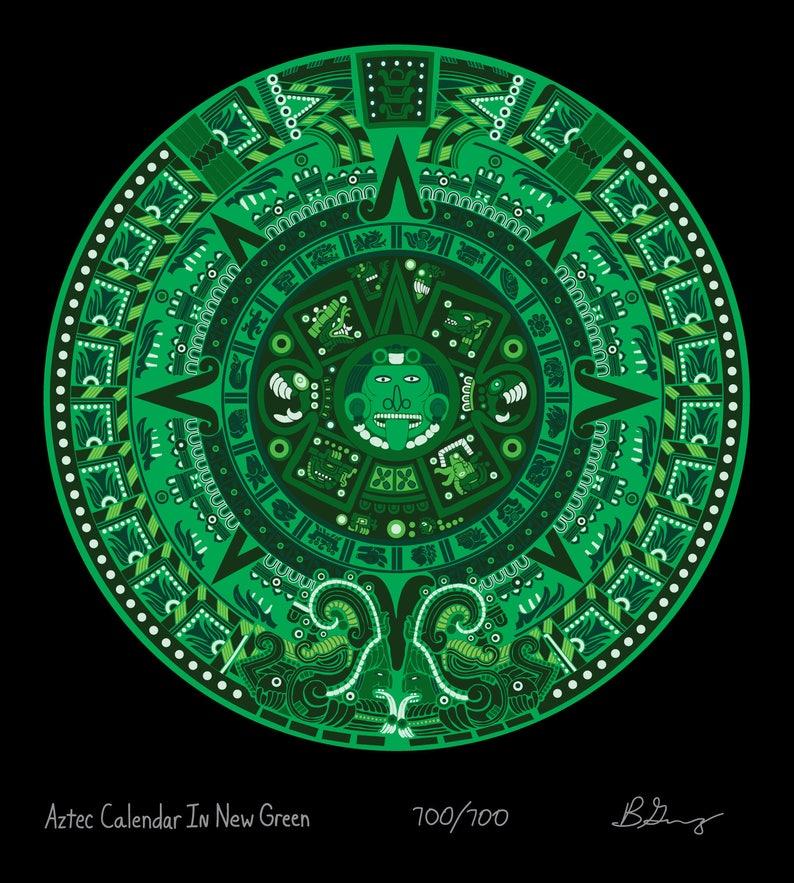 Calendario Azteca.Calendario Azteca En Verde Nuevo