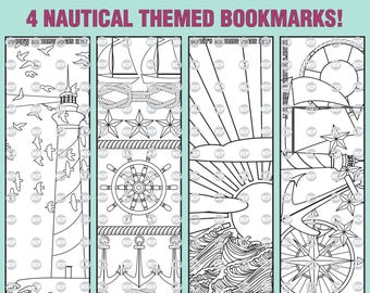 Nautical Themed Bookmarks Coloring Page/ 1 Adult Bookmarks Coloring Page/ 4 Printable Coloring Bookmarks/ Coloring Sheet