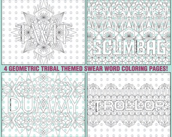 Geometric Tribal Swear Word Coloring Pages Collection 4 Adult Book Printable Sheet