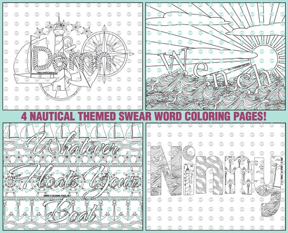 Nautical Swear Word Coloring Pages Collection 4 Adult Etsy