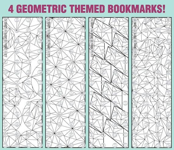 Geometrische Themen Lesezeichen Malvorlagen / 1 Erwachsener | Etsy