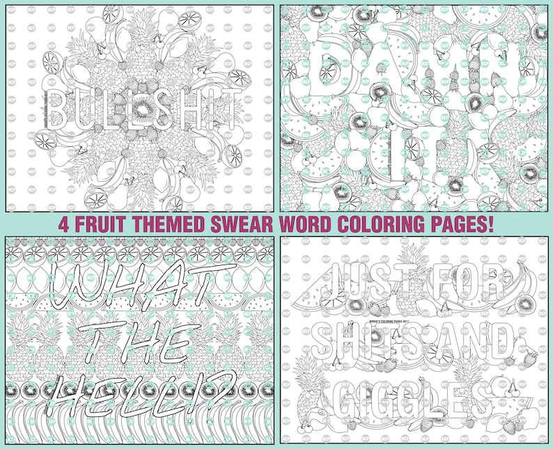 Fruit Swear Word Coloring Pages Collection/ 4 Adult Coloring Book Swear  Word pages/ Printable Coloring Book Pages/ Coloring Sheet
