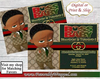 c41d1d77d6ed2 Gucci Boss Baby Birthday Invitations-Gucci Birthday-Boss Baby Birthday-African  American Boss Baby-Boss Baby-Gucci Invite-Gucci Boss Baby