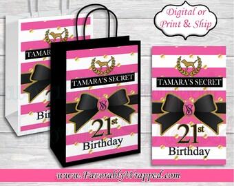 Victoria/'s Secret love pink inspired favor bags-love pink party favors-love pink gift bags-digital-print-love pink treat bags-VS party favor
