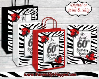 Zebra Print Birthday Gift Bag Labels Animal Bags Safari 21st Favor 40th