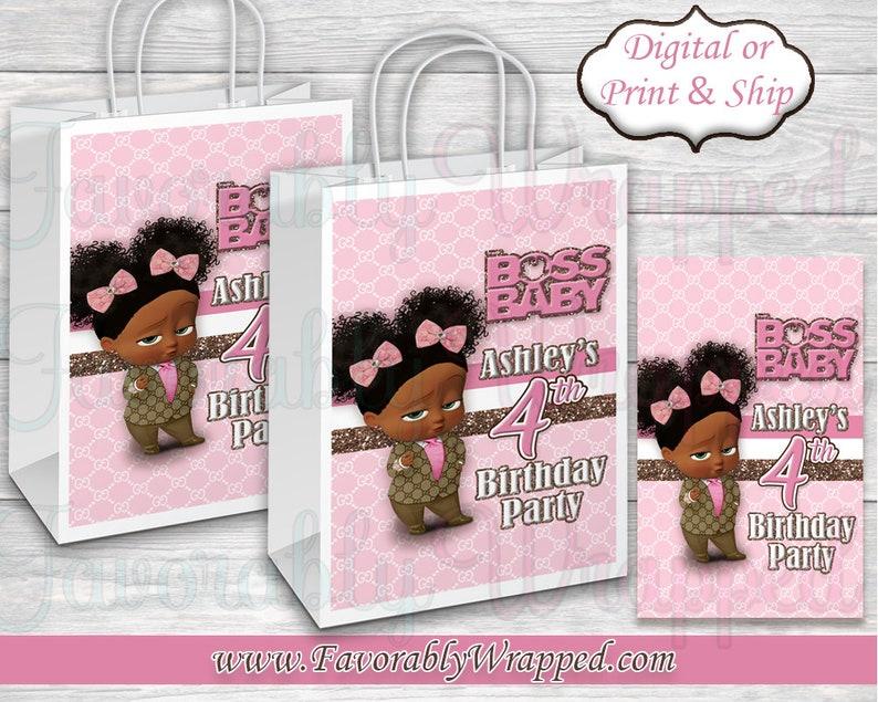 ab2f34f7706c91 Gucci Boss Baby Gift Bag Label-Gucci Birthday-Boss Baby | Etsy