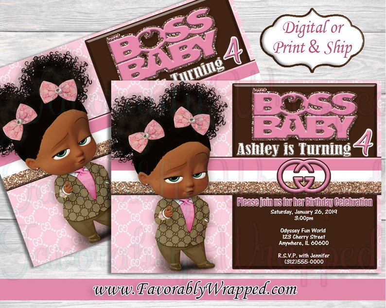 Gucci Boss Baby Girl Birthday Invitation