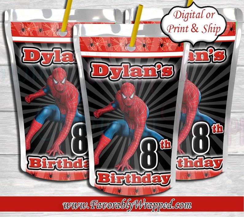 Spiderman Capri Sun Juice Labels-Spiderman Birthday-Spiderman Party-Superhero Juice Label-Spiderman Juice Label-Spiderman Decorations