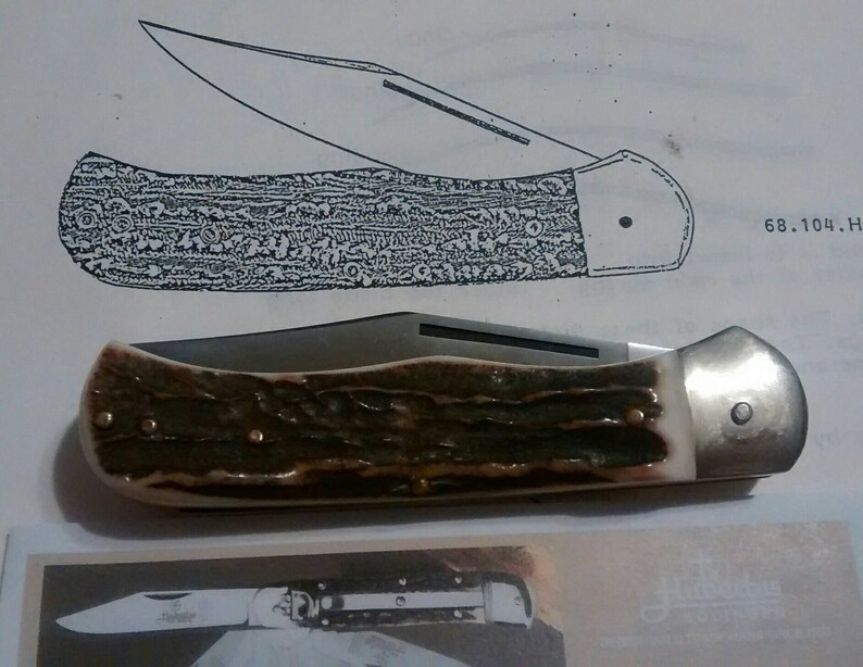 Stag HUBERTUS Knife PALM Release springer switch