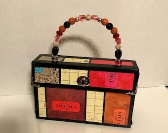 Recycled Clue Game board Handbag Purse
