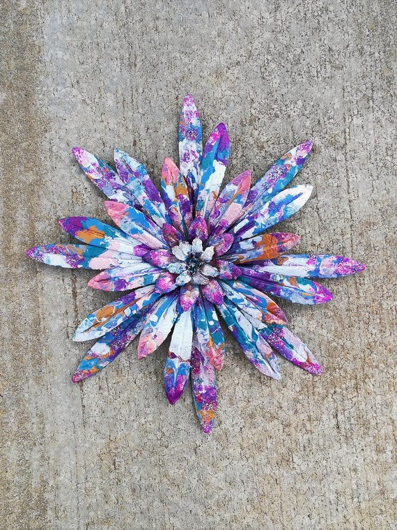 Metal Flower Wall Art Bohemian Decor Wall Art Flower Metal Etsy