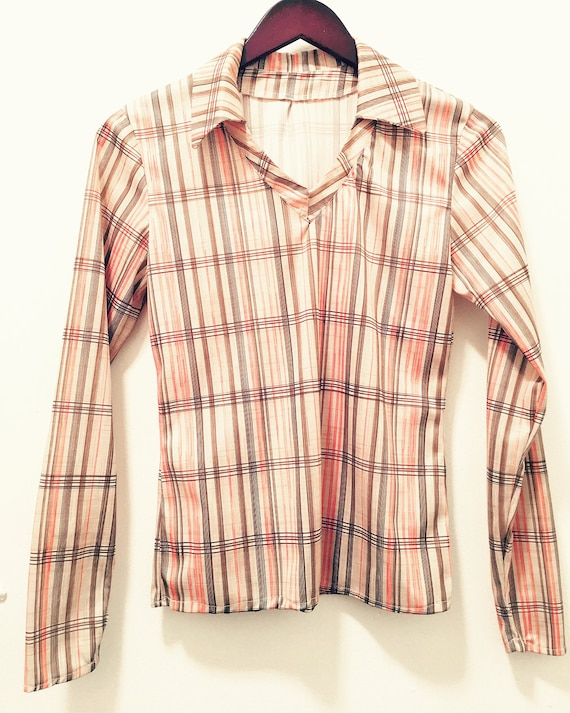Vintage Seventies Women S Striped Long Sleeve Collared Shirt
