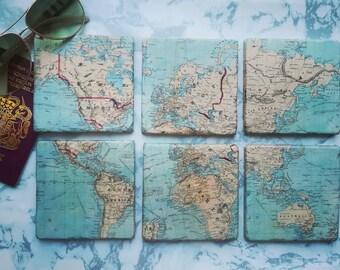 World map coasters | Etsy