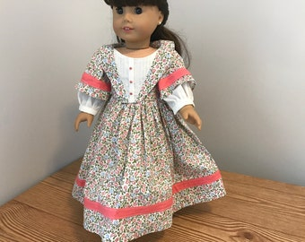 1800's Coral and white  floral print Dress, and Bloomers/ fits american girl type dolls