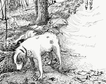 Dog Walking Black + White Art Print