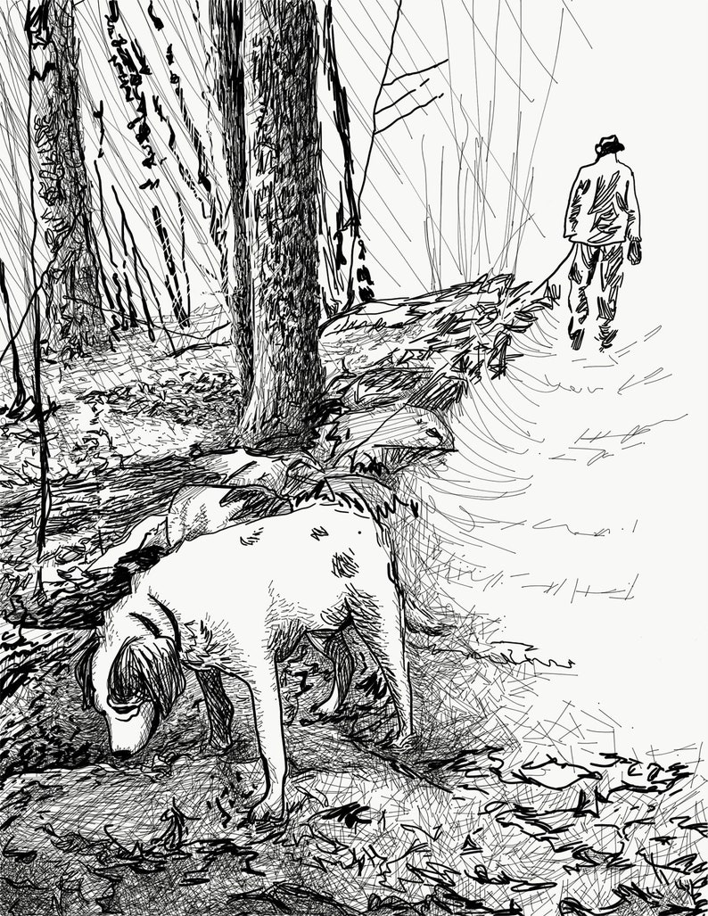 Dog Walking Black  White Art Print image 1