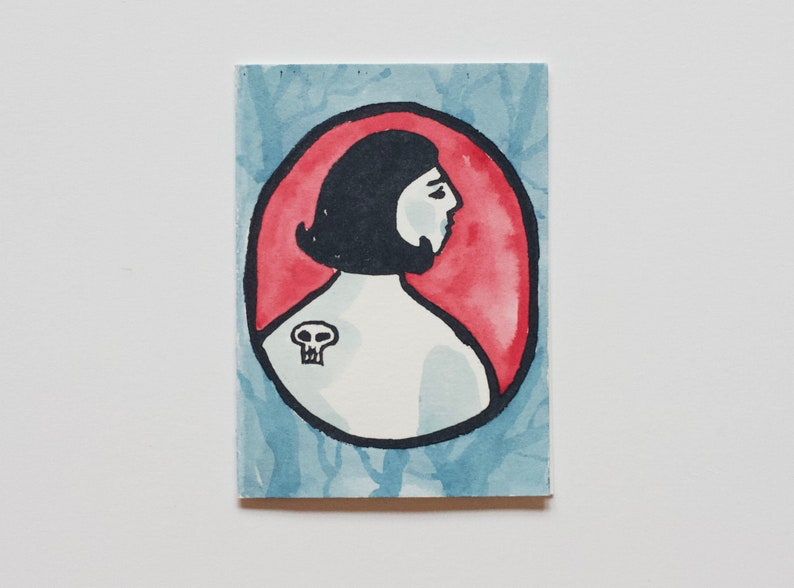 Girl With the Skull Tattoo Greeting Card Print Red + Blue Forest