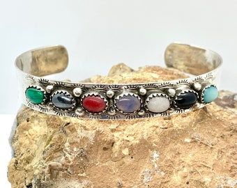 Vintage Beautiful Mosaic Multi Stone Multi Color Design Cuff Bracelet 925 Sterling BR 2834