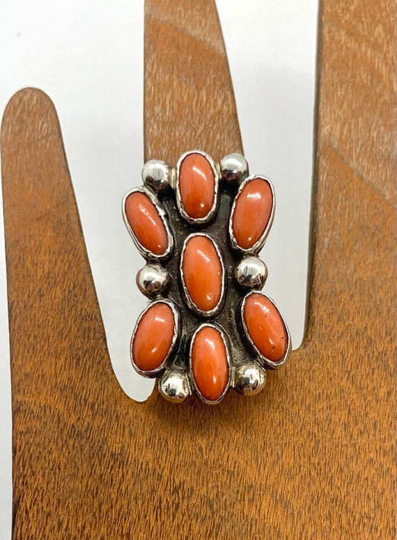 Vintage Navajo  Sterling Silver Natural Red Coral