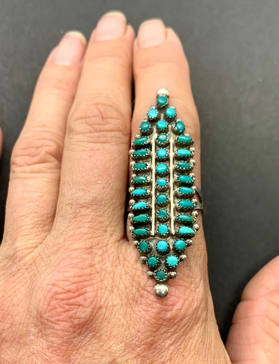 Vintage Zuni Large Sterling Silver Turquoise Multi