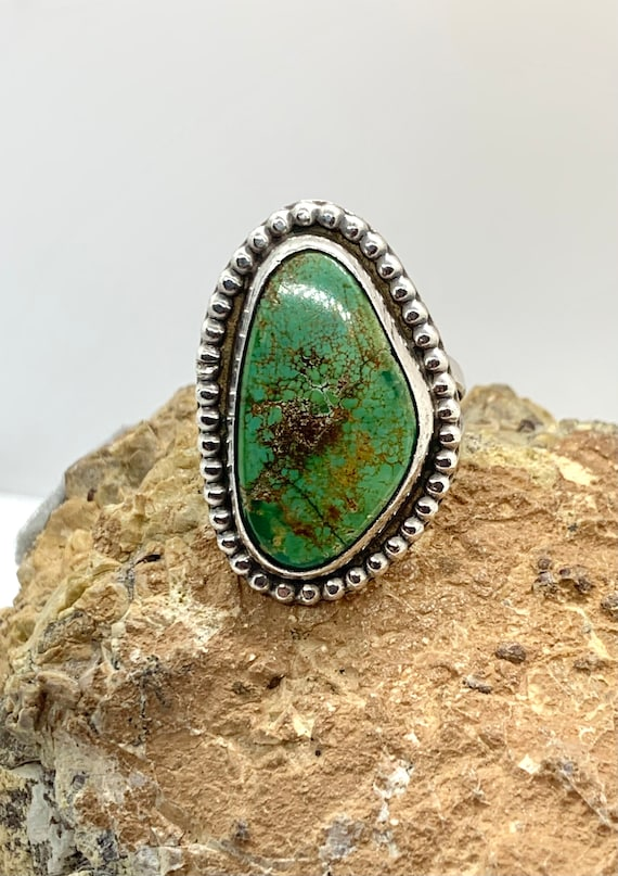 DO Signed Navajo Sterling Silver Natural Green Tur