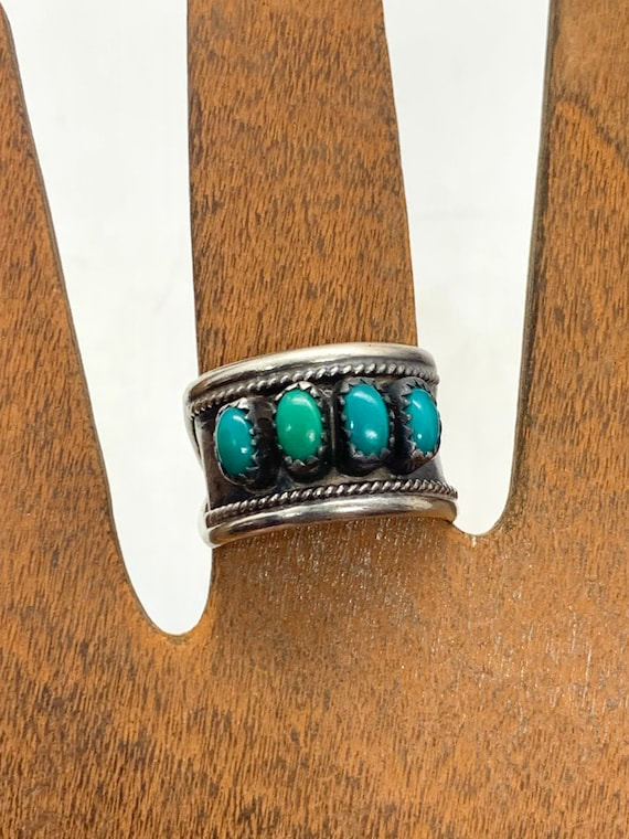 Vintage Signed Navajo Sterling Silver Turquoise Mu