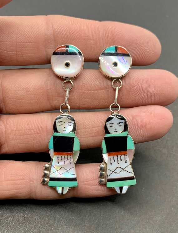 Signed Zuni Sterling Silver Turquoise Multi Stone