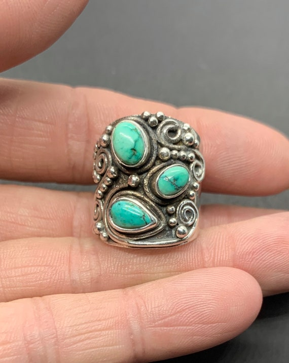 Women's Sterling Silver Natural Green Turquoise Wi