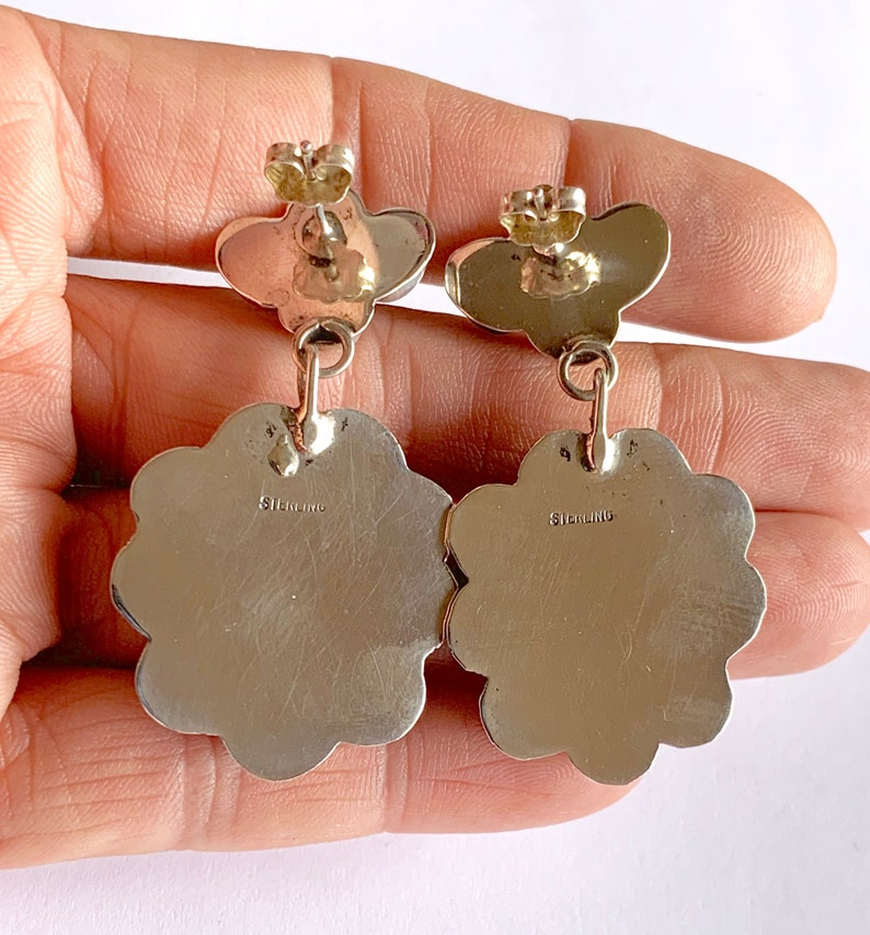 Turquoise Dangle Turquoise Earrings Navajo Earrings Coral Earrings Dangle Earrings Navajo Sterling Silver Multi Stone Dangle Earrings
