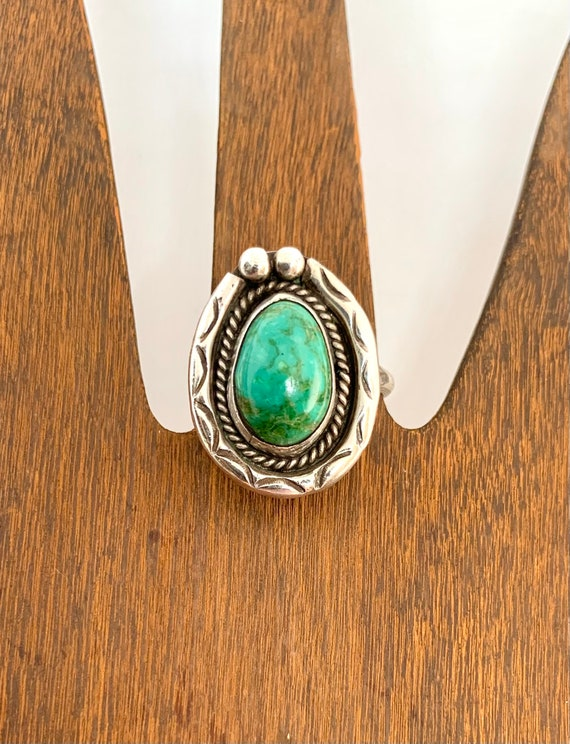 Vintage Navajo Southwestern Sterling Silver Green